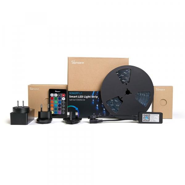 Banda LED smart Sonoff L1, RGB+W, waterproof clasa IP65, Wi-Fi, compatibila Google & Alexa, 2 metri 0