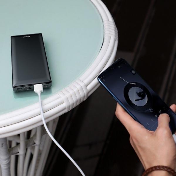 Power Bank Baseus Mini JA, 20000mAh, 2 x USB, Type-C, Micro USB, max 3A, incarcare duala simultana, negru 4