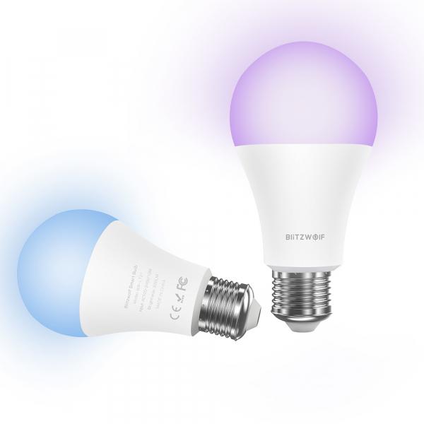 Bec LED Blitzwolf RGBW, 10W, WiFi 2.4Ghz, 16mil culori, 900 lumeni, ecosistem Smart Life, compatibil Google & Alexa 1