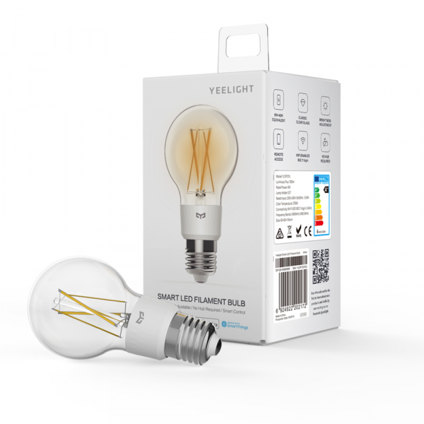 Bec LED smart Yeelight filament, Wi-Fi, control de la distanta, 700 lm, compatibil Google, Homekit, SmartThings 0