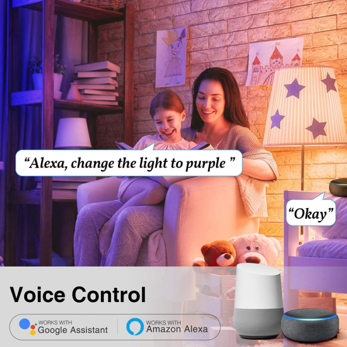 Bec LED smart Gosund, 16 milioane culori, WiFi 2.4Ghz, 8W, E27, 800 lumeni, compatibil Smart Life, Google Home & Alexa 3