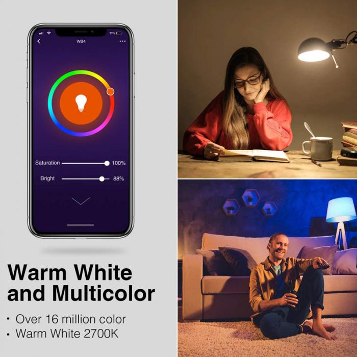 Bec LED smart Gosund, 16 milioane culori, WiFi 2.4Ghz, 8W, E27, 800 lumeni, compatibil Smart Life, Google Home & Alexa 4