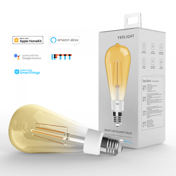 Bec LED smart Yeelight Filament ST64 vintage 2700K, 500 lumeni, compatibil Google, Alexa, Homekit, IFTTT, SmartThings 0