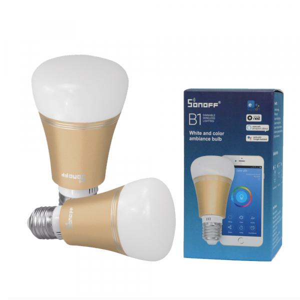 Bec LED smart Sonoff B1 Gold, Wi-Fi, RGB+W, 600lm, E27, 6 watt, compatibil Alexa, Google Home, IFTTT 0