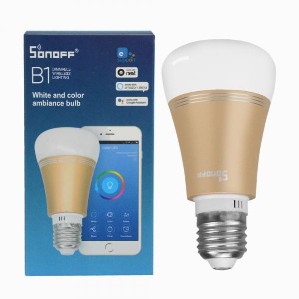 Bec LED smart Sonoff B1 Gold, Wi-Fi, RGB+W, 600lm, E27, 6 watt, compatibil Alexa, Google Home, IFTTT 2