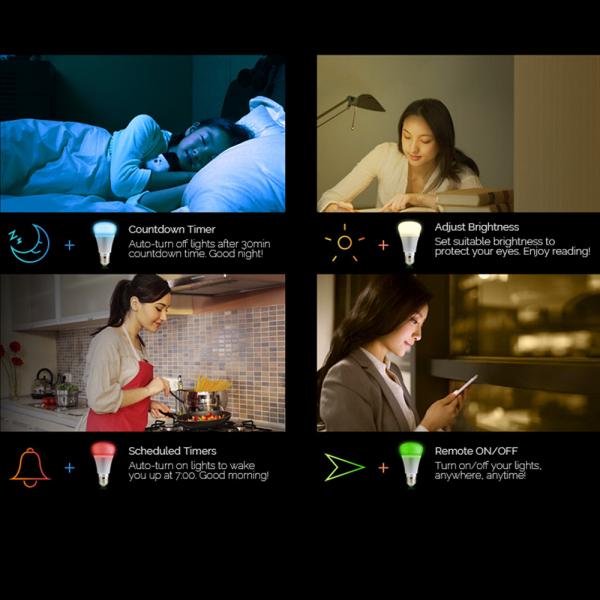 Bec LED smart Sonoff B1 Gold, Wi-Fi, RGB+W, 600lm, E27, 6 watt, compatibil Alexa, Google Home, IFTTT 3