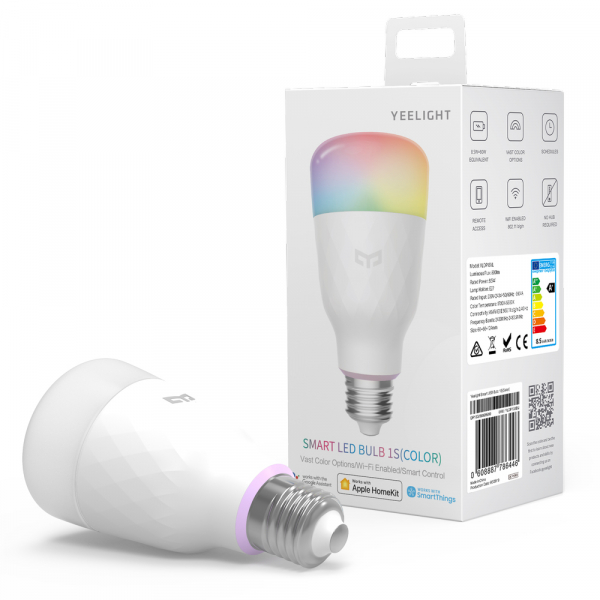 Pachet iluminat inteligent 3 x bec LED Xiaomi Yeelight 1S EU, RGBW, 8.5 watt, 800 lumeni, WiFi, Google, Homekit, SmartThings 1