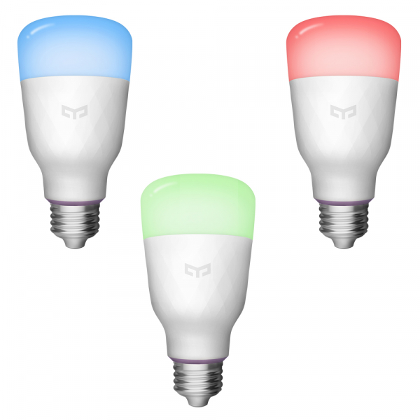 Pachet iluminat inteligent 3 x bec LED Xiaomi Yeelight 1S EU, RGBW, 8.5 watt, 800 lumeni, WiFi, Google, Homekit, SmartThings 2