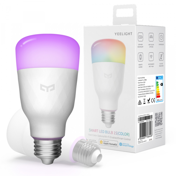 Pachet iluminat inteligent 3 x bec LED Xiaomi Yeelight 1S EU, RGBW, 8.5 watt, 800 lumeni, WiFi, Google, Homekit, SmartThings 3