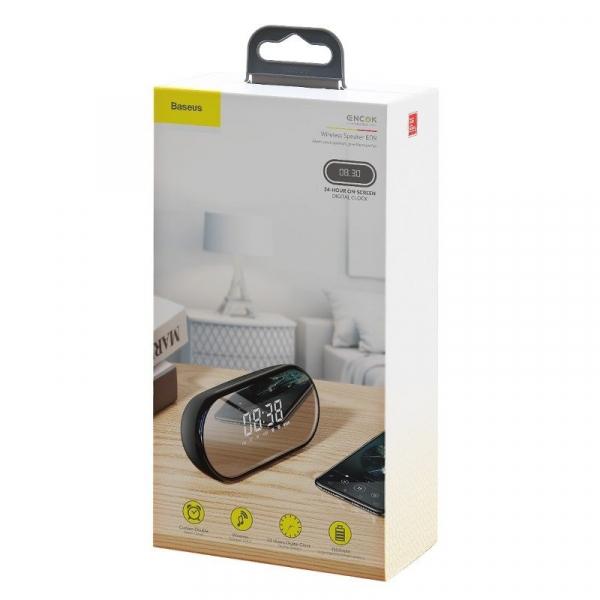 Boxa wireless afisaj LED Baseus Encok E09 cu ceas, radio si lumina de noapte, bluetooth 4.2, jack 3.5mm, microSD 4