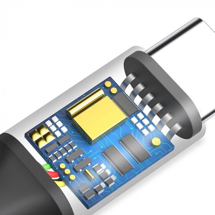 Cablu incarcare Baseus Rapid USB-C LED, invelis textil 2 metri, 2A, 480 Mb/s, negru [2]