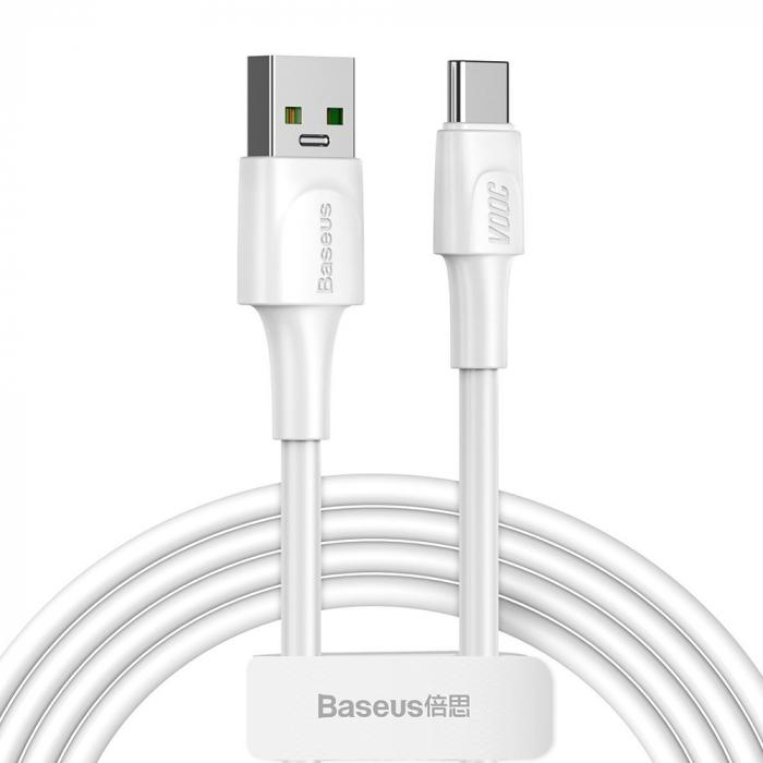 Cablu incarcare USB-C Baseus White Series, VOOC, QC, 5A, 2 metri, 480 Mbps, alb [0]