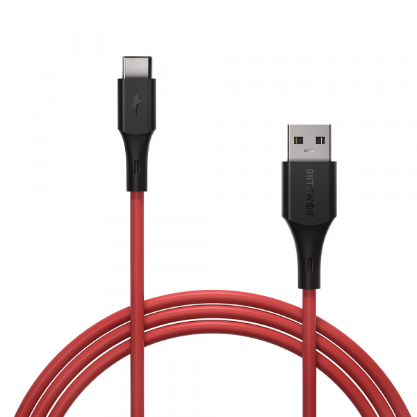 Cablu incarcare Blitzwolf USB Type-C Supercharge QC3.0, 1.8 metri lungime, 5A, universal, rosu 4