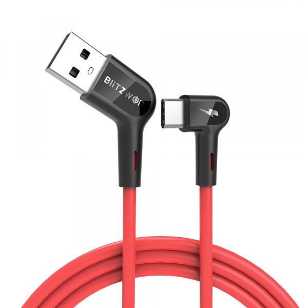 Cablu incarcare Blitzwolf AC1, USB-C, 5V 3A, 1.8 metri lungime, 22AWG power + 30 AWG Data, rosu 3