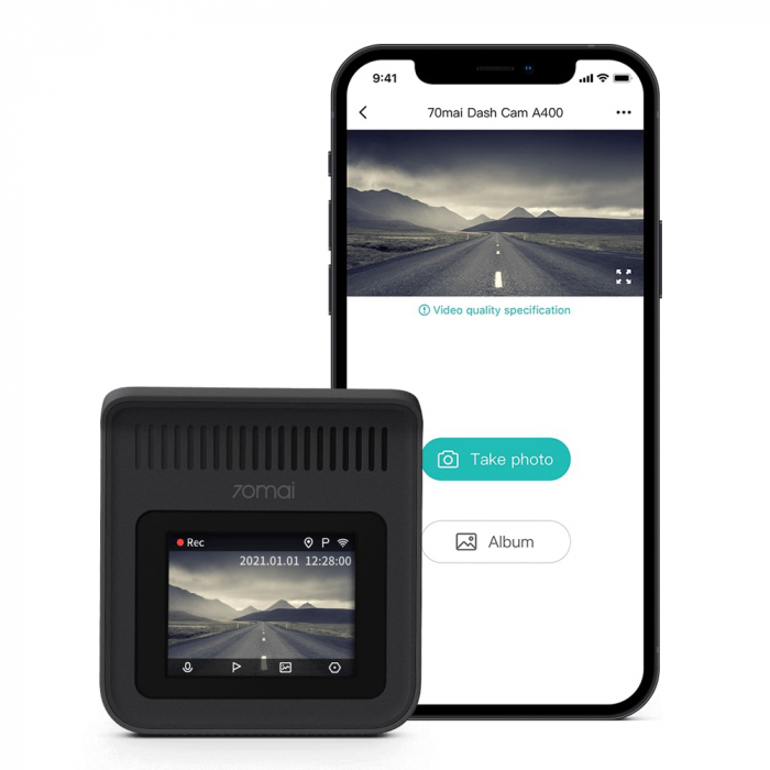 Pachet camera auto smart Xiaomi 70mai A400 QHD rezolutie 2560X1440, FOV 145°, WiFi, plus camera marsarier 70mai RC09 Full-HD, versiune EU [2]