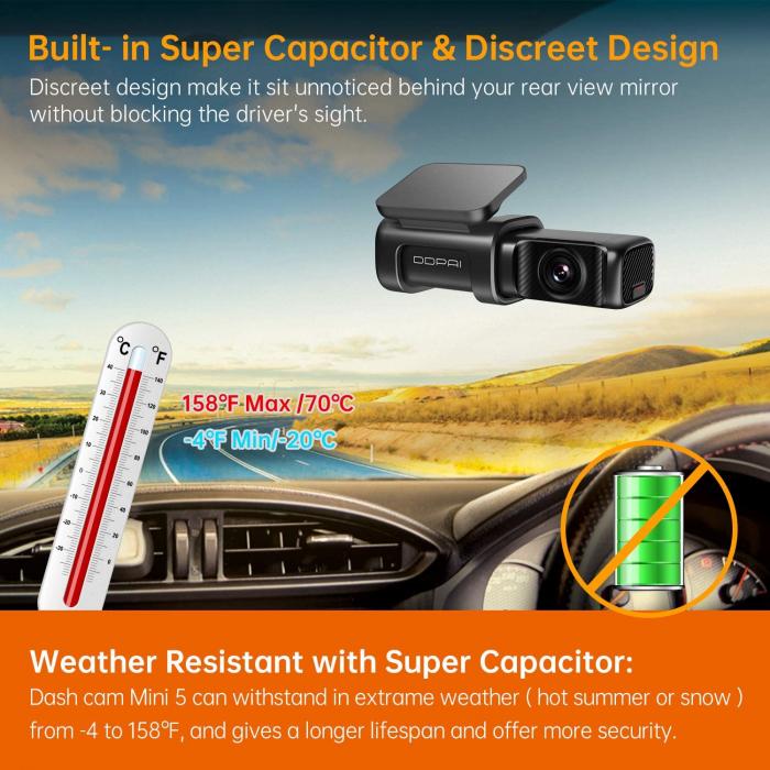 Camera auto DVR DDPAI Mini 5, rezolutie 4K SONY IMX415, WiFi 5Ghz, ADAS, stocare interna eMMc 64GB, GPS integrat, asistent  AI [4]