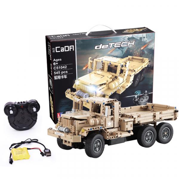 Set constructie Camion militar cu telecomanda Double Eagle, 2.4 GHz, 545 piese compatibile LEGO, 400mAh 3