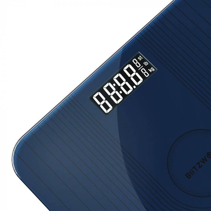 Cantar BlitzWolf BW-SC2, sticla securizata, display LED, arie cantar 5-180kg, Navy Blue [1]