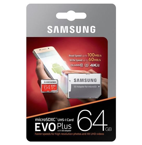 Card de memorie Samsung Micro-SDXC, EVO Plus 64GB, 100 MB/s, Clasa 10, UHS-I U3, adaptor SD inclus 2