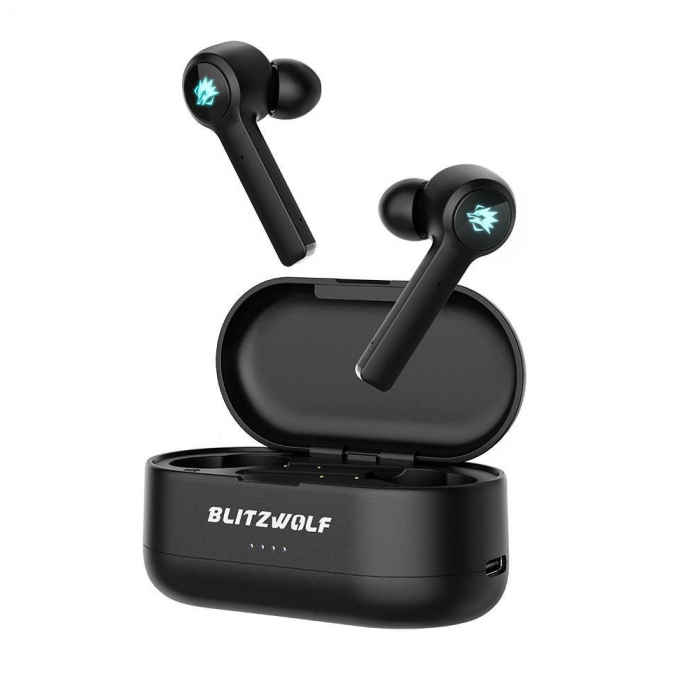 Casti gaming Blitzwolf BW-FLB2 TWS, bluetooth 5.0, IPX 4, virtual surround, DSP Noise cancellation, Negre 0