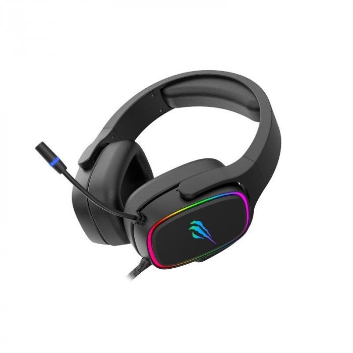 Casti gaming Havit H2029U, lumina RGB, sunet 3D, microfon incorporat, USB 7.1, 50mm diafragma [2]