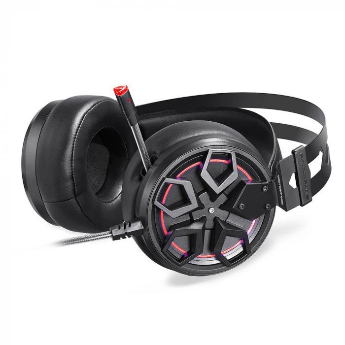 Casti Gaming Motospeed H60, sunet 3D, 50mm driver, audio 7.1, microfon, cablu 2.1m, negru 1