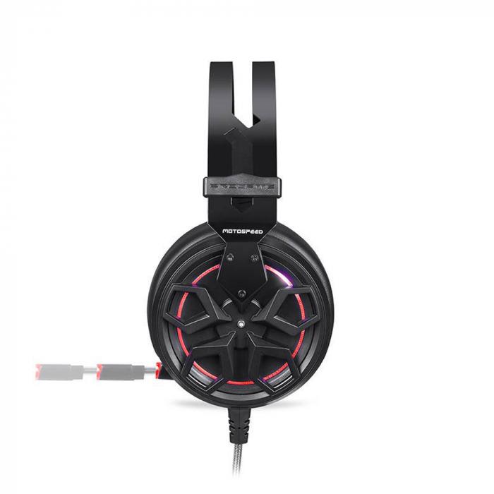 Casti Gaming Motospeed H60, sunet 3D, 50mm driver, audio 7.1, microfon, cablu 2.1m, negru 2