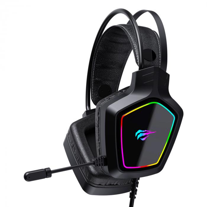 Casti gaming Havit Gamenote H656d, iluminat RGB, difuzoare 50mm, audio 3.5mm + USB, cablu 2.2 metri, microfon, compatibile PS4 / PS5 [0]