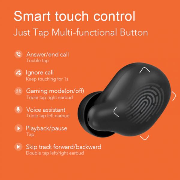 Casti Xiaomi TWS Haylou T15 Falcon, Bluetooth 5.0, powerbank-dock 2200mAh, touch control, IPX5, AAC, DSP, Negru 5