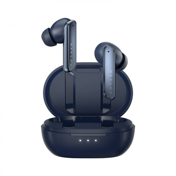 Casti premium wireless Haylou W1 TWS model 2021, Bluetooth 5.2, drivere dinamice Knowles, touch control, aptX adaptive, SBC, AAC, albastru [0]