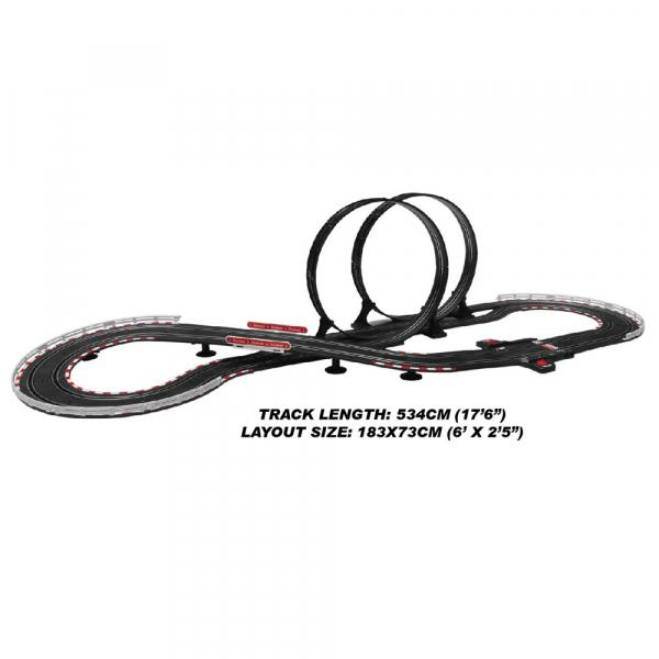Circuit masinute cu telecomanda Joysway Super 252, lungime 534cm, alimentare cu USB, scala 1:43, faruri LED 1