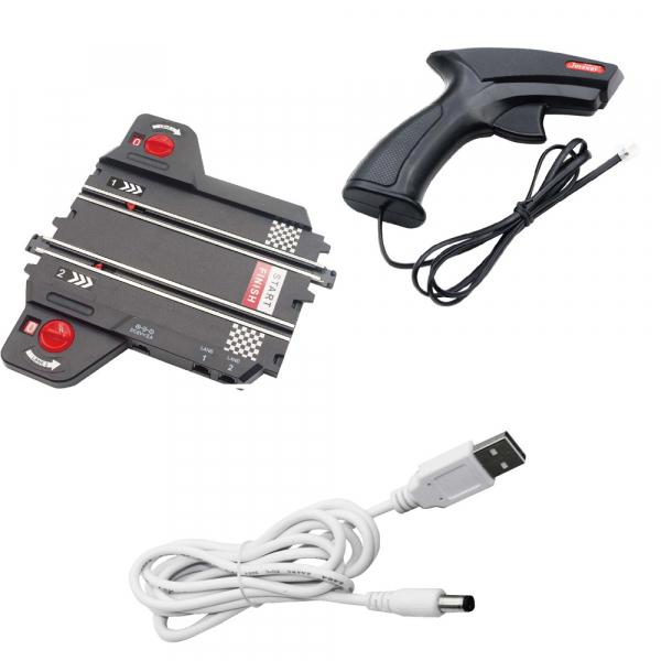 Circuit masinute cu telecomanda Joysway Super 252, lungime 534cm, alimentare cu USB, scala 1:43, faruri LED 4