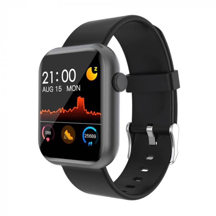Smartwatch Colmi P9, 210 mAh pana la 10 zile autonomie, senzor HR, notificari, monitorizare nivel oxigen din sange, somn, IP67, negru 0