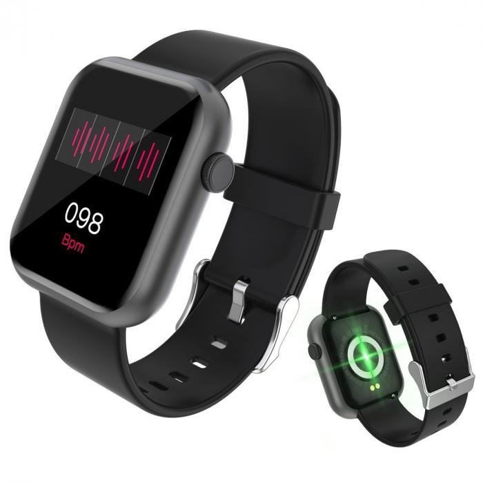 Smartwatch Colmi P9, 210 mAh pana la 10 zile autonomie, senzor HR, notificari, monitorizare nivel oxigen din sange, somn, IP67, negru 1