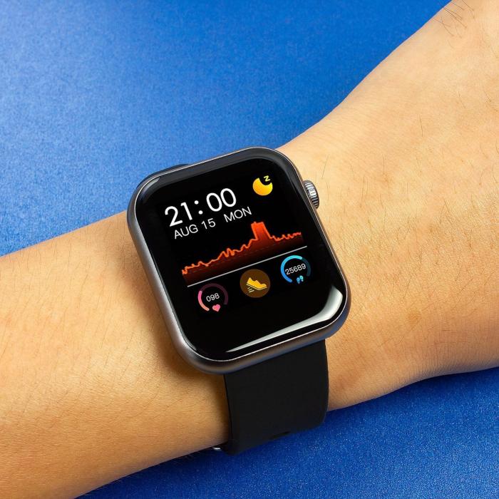 Smartwatch Colmi P9, 210 mAh pana la 10 zile autonomie, senzor HR, notificari, monitorizare nivel oxigen din sange, somn, IP67, negru 4