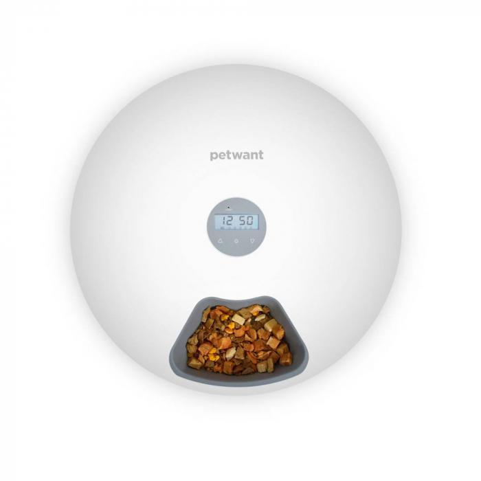 Hranitor automat catei sau pisici PetWant F6, hrana umeda sau uscata, programabil, display LCD, 180ml x 6 compartimente, alb 2