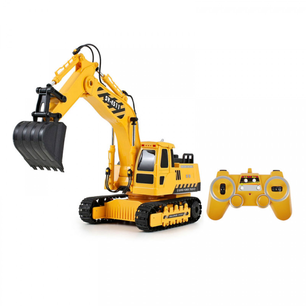 Excavator RC Double Eagle cu telecomanda, scala 1:20, 400mAh, functie excavare si descarcare, lumini, sunete demo 0