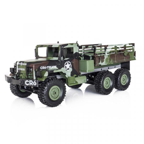 Funtek CR6, camion RC militar 6x6 cu telecomanda 2.4Ghz, camuflaj, 700mAh, 1:16, lumini LED, 25min autonomie 0