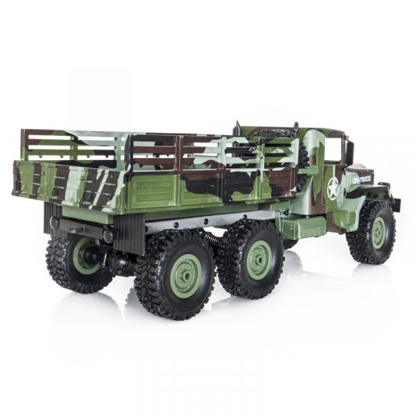 Funtek CR6, camion RC militar 6x6 cu telecomanda 2.4Ghz, camuflaj, 700mAh, 1:16, lumini LED, 25min autonomie 2