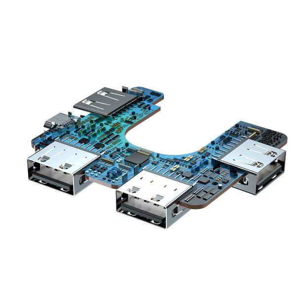 HUB USB splitter Baseus 4 in 1, transfer date 480Mbps, port alimentare directa Micro-USB, pliabil, negru 4