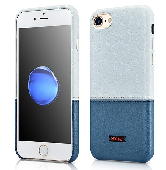 Husa XOOMZ protectie spate, handmade, pentru iPhone 7/8 din piele sintetica, albastru/bleu 0