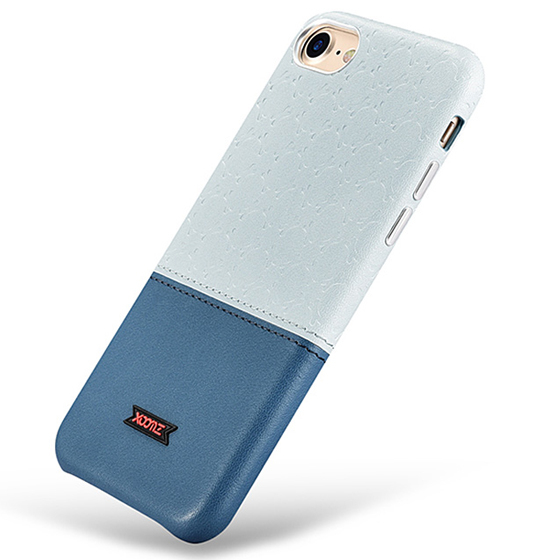 Husa XOOMZ protectie spate, handmade, pentru iPhone 7/8 din piele sintetica, albastru/bleu 3
