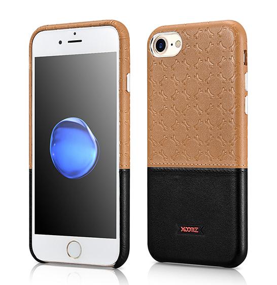 Husa XOOMZ protectie spate, handmade, pentru iPhone 7/8 din piele sintetica, maro/negru 0