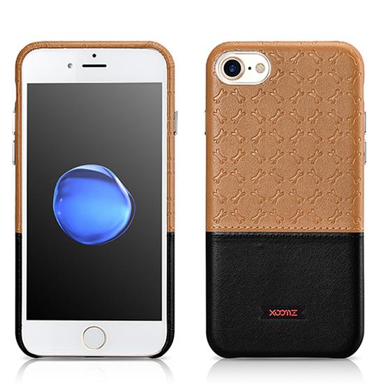 Husa XOOMZ protectie spate, handmade, pentru iPhone 7/8 din piele sintetica, maro/negru 1