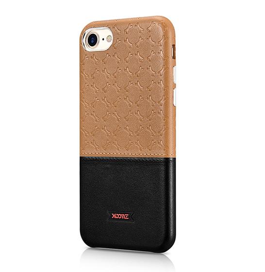 Husa XOOMZ protectie spate, handmade, pentru iPhone 7/8 din piele sintetica, maro/negru