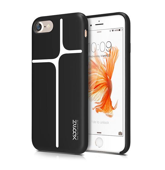 Husa XOOMZ protectie spate pentru iPhone 7/8 cu model geometric din silicon lichid, neagra