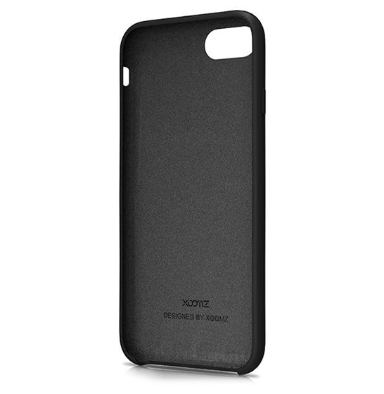 Husa XOOMZ protectie spate pentru iPhone 7/8 cu model geometric din silicon lichid, neagra 3