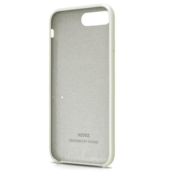 Husa XOOMZ protectie spate pentru iPhone 7/8 cu model geometric din silicon lichid, gri deschis