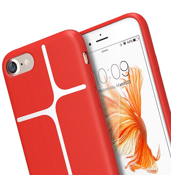 Husa XOOMZ protectie spate pentru iPhone 7/8 cu model geometric din silicon lichid, rosu 1