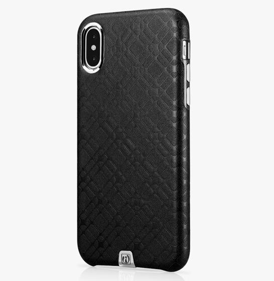 Husa slim ICARER Transformer pentru iPhone X, protectie camera, din piele naturala, vintage, neagra